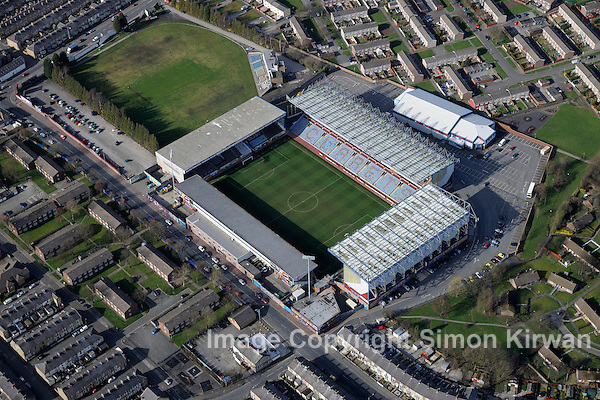 Turf Moor, home of Burnley FC from the Air. Photo By Simon Kirwan