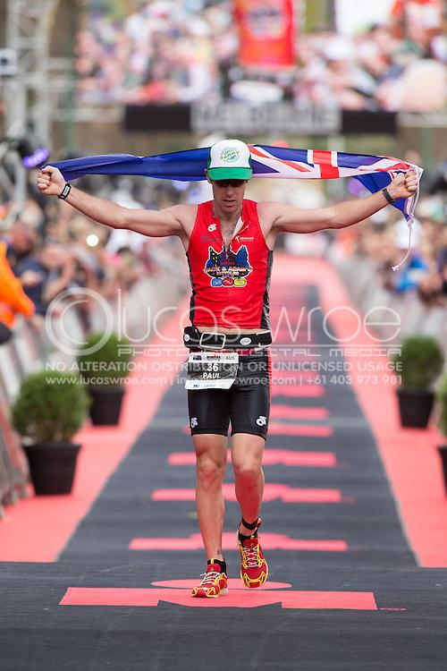 Paul Mathews (AUS), March 23, 2014 - Ironman Triathlon : Ironman Melbourne Race, Run Course Run Course Race Finish, St Kilda, Melbourne, Victoria, Australia. Credit: Lucas Wroe (Lucas Wroe)