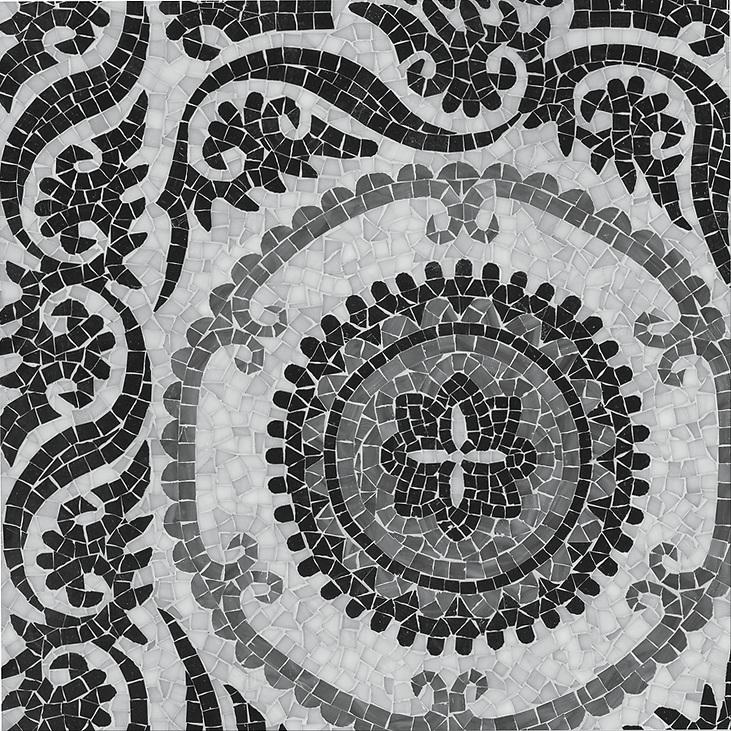 "Name: Suzani Style: Silk Road Product Number: NRFGSUZAN Description: 24"" x 24"" Suzani in jewel glass (New Ravenna Mosaics)"