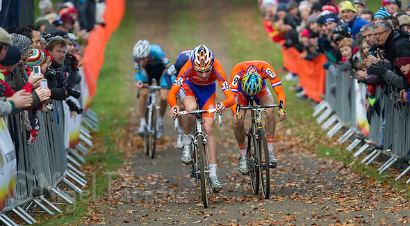 03 NOV 2012 - IPSWICH, GBR - Mike Teunissen (NED) (left) of the Netherlands out sprints team mate Corne van Kessel (NED) (right) to the finish line at the end of the Under 23 Men&#039;s European Cyclo-Cross Championships in Chantry Park, Ipswich, Suffolk, Great Britain (PHOTO (C) 2012 NIGEL FARROW) (NIGEL FARROW/(C) 2012 NIGEL FARROW)