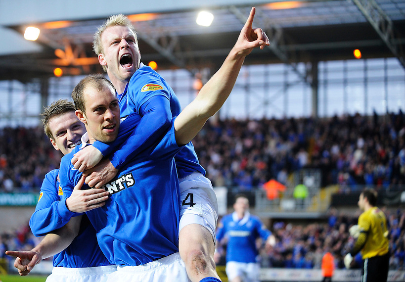 19th April 2011, Dundee United v Rangers SPL match at Tannadice Stadium, Dundee, Steven Naismith and Steven Davis celebrate with scorer Steven Whittaker, Rob Casey Photography. (ROB CASEY/ROB CASEY PHOTOGRAPHY)