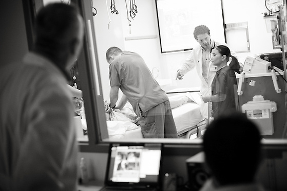 Benjamin Salgado, MD, 1st yr. resident, conducts at simulation at University Medical Center Brackenridge  in Austin, Texas on November 9, 2012. (Lance Rosenfield/Prime)