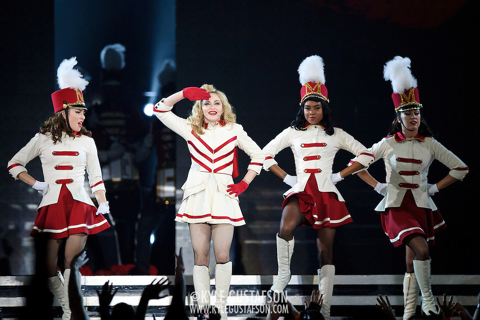 WASHINGTON, DC - September 23rd, 2012 - Music icon Madonna performs at the Verizon Center as part of the MDNA Tour. The tour, which began in May in Tel Aviv, Israel, has come under fire for it's violent imagery, fake gunplay and use of swastikas in an image collage. (Photo by Kyle Gustafson/For The Washington Post) (Kyle Gustafson/For The Washington Post)