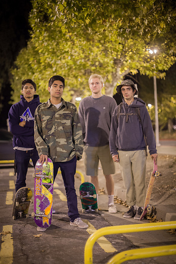 Diablo Valley students and late night skateboarders Michael, Sid, Burgess & Elliot at the Lafayette BART Station  elliotchampion@gmail.com (© Clark James Mishler)