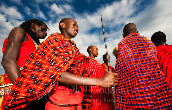 Masai warriors prepare for dance. (Ole Jørgen Liodden)
