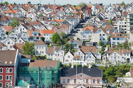 STAVANGER, NORWAY - JUNE 04, 2010: Aerial view of Stavanger city historical buildings in Stavanger, Norway. (Dmitry Chulov)