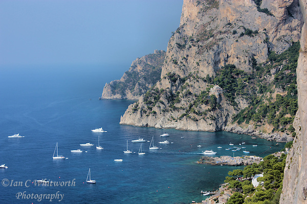 A view of the beautiful cliffs and boats on the island of Capri (Ian C Whitworth)