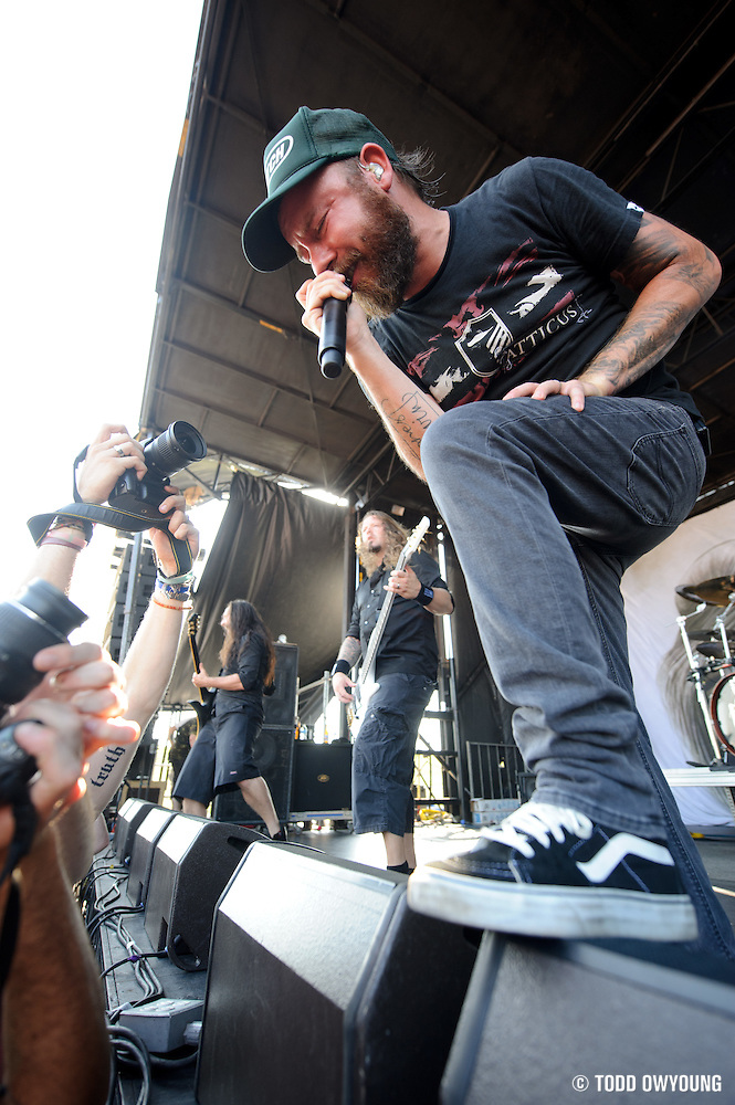 In Flames performing on the Mayhem Festival at Verizon Wireless Amphitheater in St. Louis, Missouri on July 19, 2011. © Todd Owyoung. (Todd Owyoung)