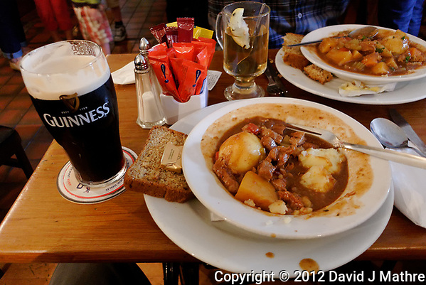 Lamb Stew and Guinness. Image taken with a Nikon 1 V1 camera and 10 mm lens. (David J Mathre)