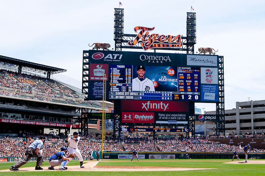 Aug 6, 2015; Detroit, MI, USA; General view as Kansas City Royals starting pitcher Yordano Ventura (30) pitches to Detroit Tigers right fielder J.D. Martinez (28) in the second inning at Comerica Park. Mandatory Credit: Rick Osentoski-USA TODAY Sports (Rick Osentoski/Rick Osentoski-USA TODAY Sports)