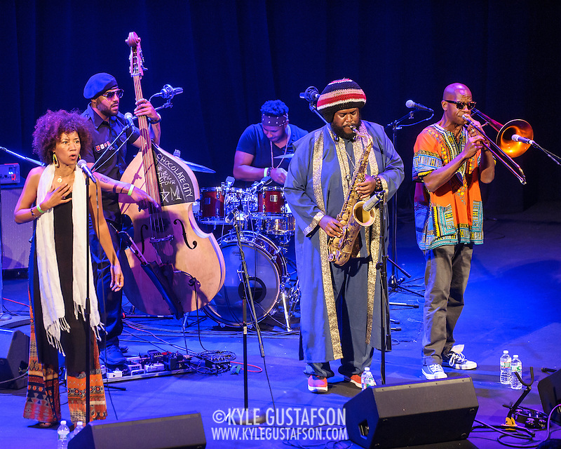 WASHINGTON, DC - August 26, 2015 - Patrice Quinn, Miles Mosely, Ronald Bruner, and Kamasi Washington  and Ryan Porter perform at the Howard Theatre in Washington, D.C. After working with artists such as Kendrick Lamar and Flying Lotus, Washington is touring behind his debut studio album, The Epic.  (Photo by Kyle Gustafson / For The Washington Post) (Kyle Gustafson/For The Washington Post)