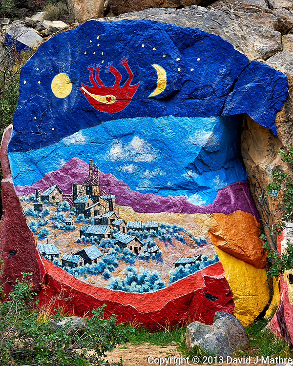 Modern Rock Mural near Chloride by Artist Roy Purcell. There are a lot of very colorful murals in this location started in 1966. Image taken with a Nikon D3 camera and 24-120 mm f/4 lens (ISO 400, 55 mm, f/8, 1/250 sec). (David J Mathre)