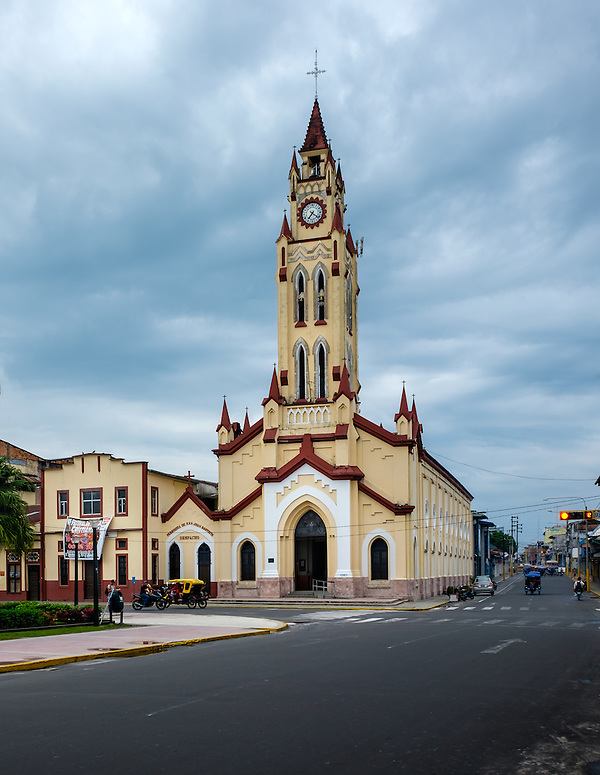 IQUITOS, PERU - CIRCA OCTOBER 2015: Church of St. John the Baptist in Iquitos, a city in the Peruvian Amazon. (Daniel Korzeniewski)