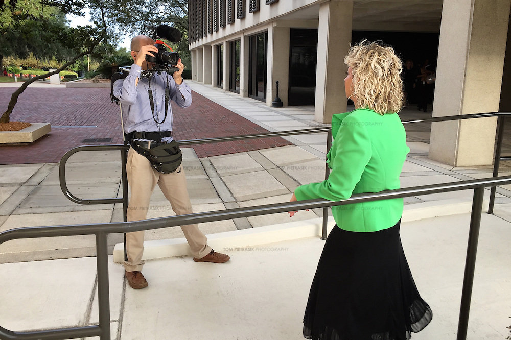 Tom Pietrasik filming Debbie Dooley. Dooley is a member of Conservatives for Energy Freedom and founder of the Tea Party. She is campaigning to promote rooftop solar in Florida. Photo: Tom Pietrasik Tallahassee, Florida USA November1 2015 (Tom Pietrasik)