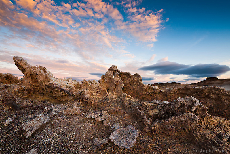 Sunrise at Námafjall mountain, south of Námaskarð, with geothermal heat all over the east side of the mountain. Sulphur was mined here for centuries from the Hlíðarnámur mines and exported. (Christopher Lund/©2010 Christopher Lund)