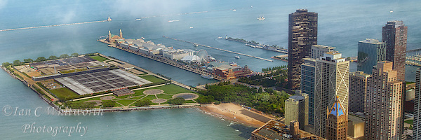 A panoramic view of Navy Pier in Chicago from the John Hancock Tower. (Ian C Whitworth)