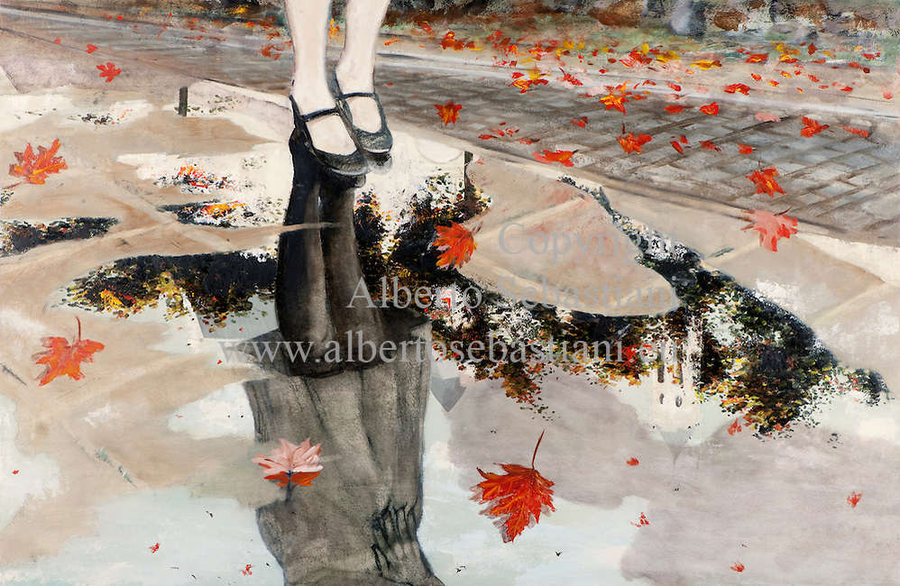 A woman and a man meet in an autumn windy day..hand painted picture. this painting was created as a hand made work following exclusively my own fantasy and personal inspiration; it is an original composition of which I'm the sole author (alberto sebastiani)