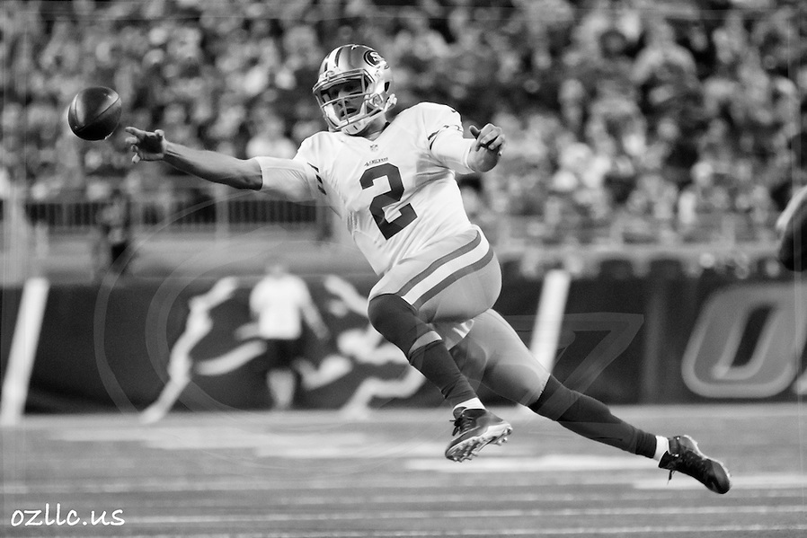 San Francisco 49ers quarterback Blaine Gabbert (2) passes against the Detroit Lions during an NFL football game at Ford Field in Detroit, Sunday, Dec. 27, 2015. (AP Photo/Rick Osentoski) (Rick Osentoski/AP)