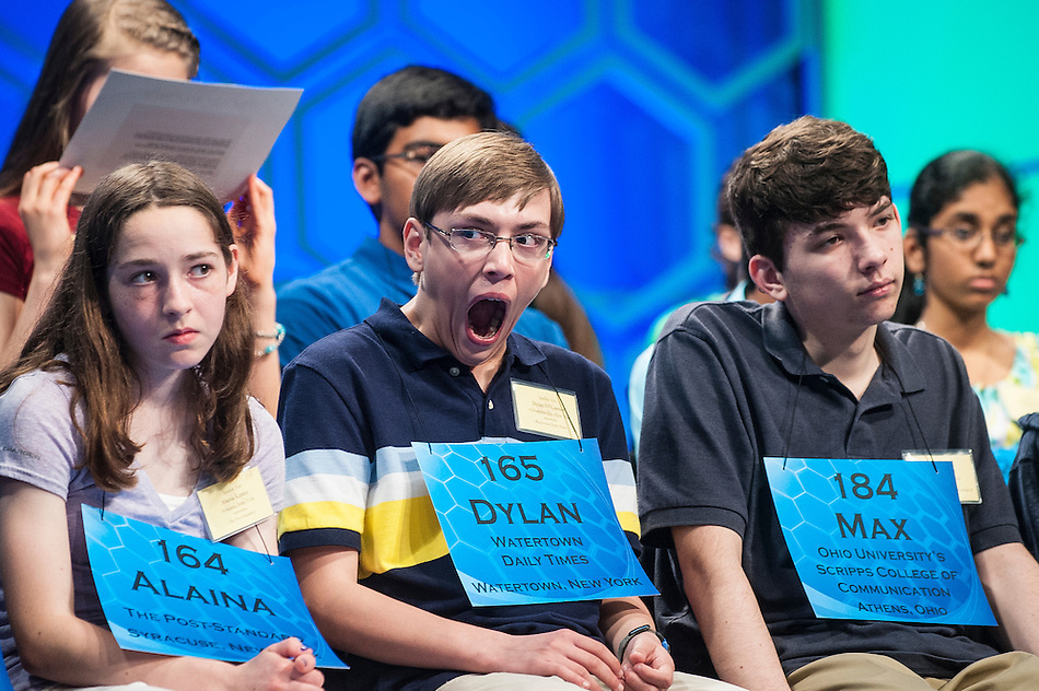 Dylan O'Connor, 13, of Alexandria Bay, New York, tries to fight off fatigue during the semifinals of the Scripps National Spelling Bee on May 29, 2014 at the Gaylord National Resort and Convention Center in National Harbor, Maryland. (Pete Marovich)