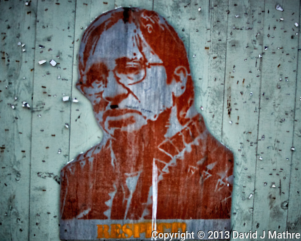 """""""Respect"""" Stencil on a billboard recently cleared of posts. Winter walkabout in Tromsø, Norway. Image taken with a Nikon 1 V2 camera and 18.5 mm f/1.8 lens (ISO 200, 18.5 mm, f/2.5, 1/400 sec). (David J Mathre)"""