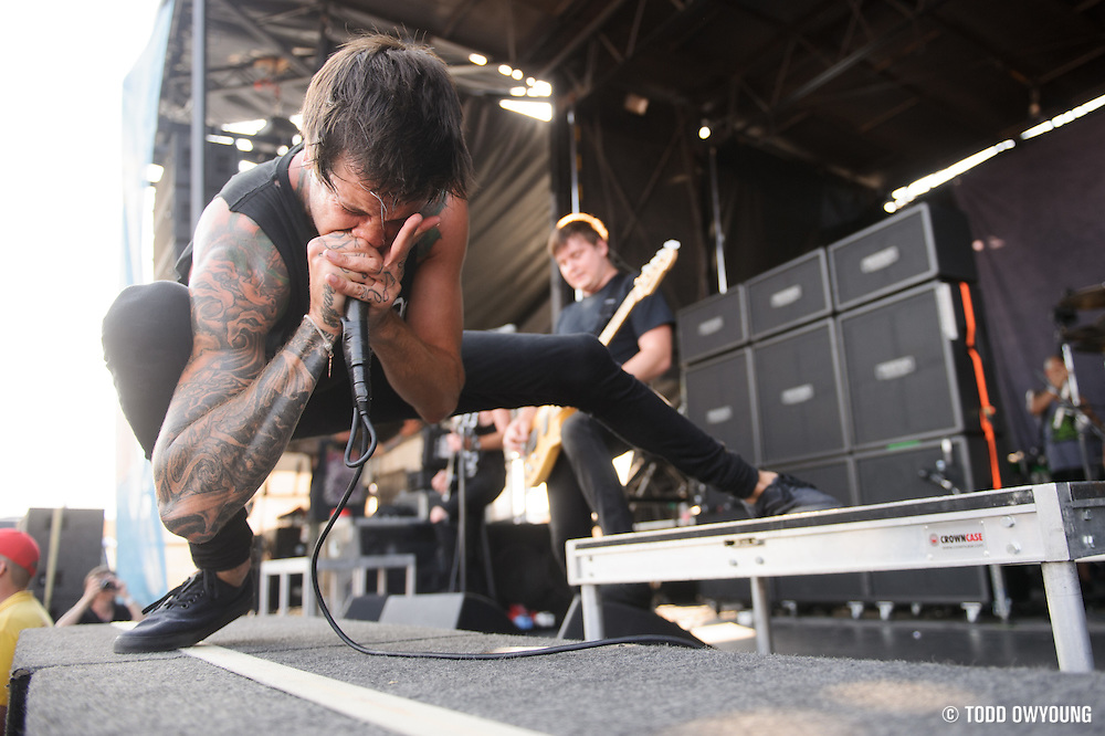 Of Mice And Men performing at Warped Tour at the Verizon Wireless Amphitheater in St. Louis on July 5, 2012. (TODD OWYOUNG)