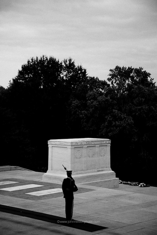 A sentinel guards the Tomb of the Unknown Soldier at Arlington National Cemetery in Arlington, Virginia. (John Nelson)