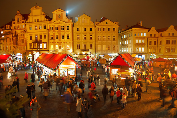 Christmas Market In Prague's Old Town Square at night time (© Paul Williams 2009)
