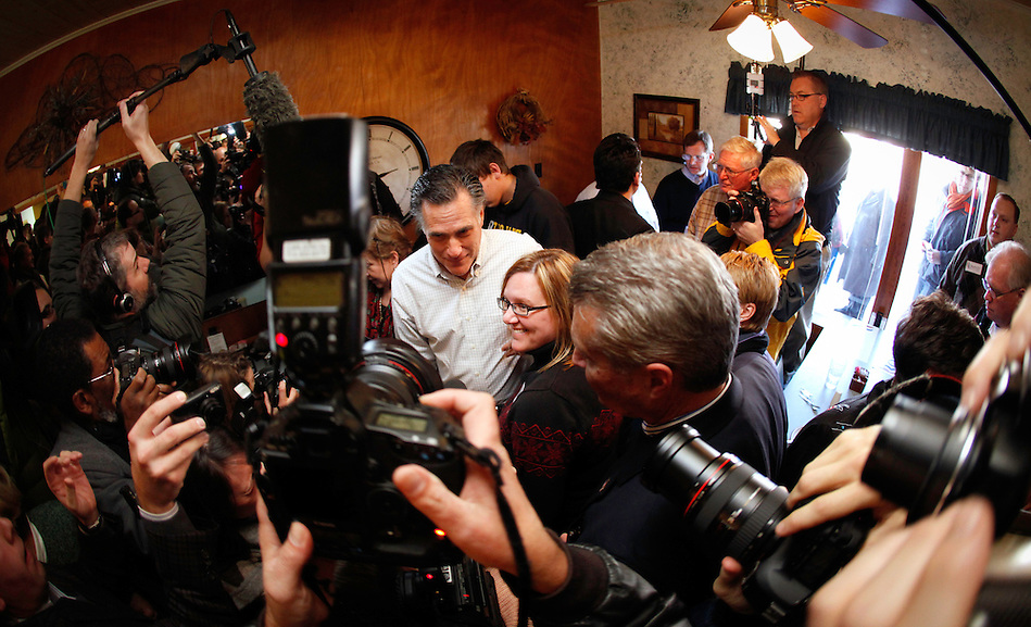 Mitt Romney is surrounded by media and supporters while making a campaign stop at The Family Table restaurant in Atlantic, Iowa on Sunday, January 1, 2012.  (Christopher Gannon/GannonVisuals.com/MCT) (Christopher Gannon)
