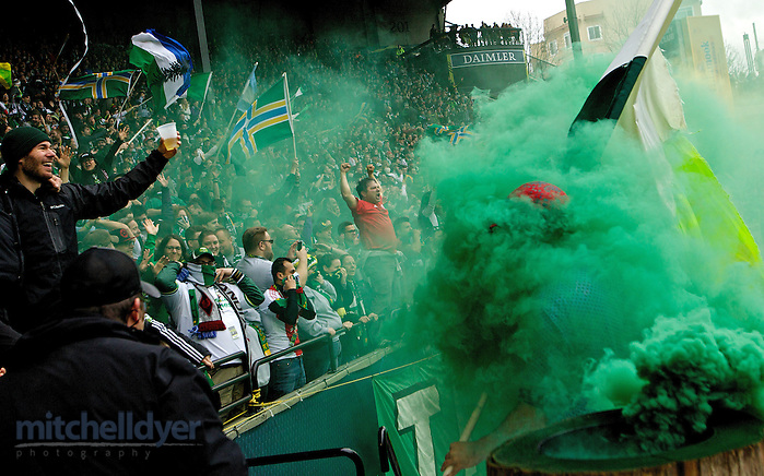 Apr 5, 2014; Portland, OR, USA; Timbers fans celebrate after a goal during the second half at Providence Park. Photo: Craig Mitchelldyer-Portland Timbers (Craig Mitchelldyer)