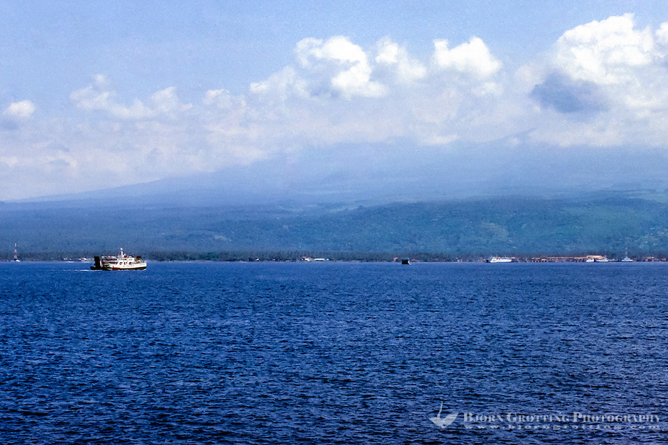 Java, Banyuwangi. The Java to Bali ferry, Bali in the background. (Photo Bjorn Grotting)
