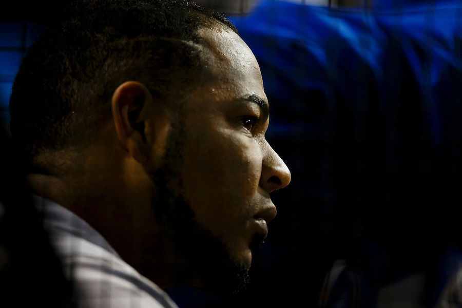 May 1, 2015; Cleveland, OH, USA; Toronto Blue Jays first baseman Edwin Encarnacion (10) watches from the dugout during the eighth inning against the Cleveland Indians at Progressive Field. Mandatory Credit: Rick Osentoski-USA TODAY Sports (Rick Osentoski/Rick Osentoski-USA TODAY Sports)