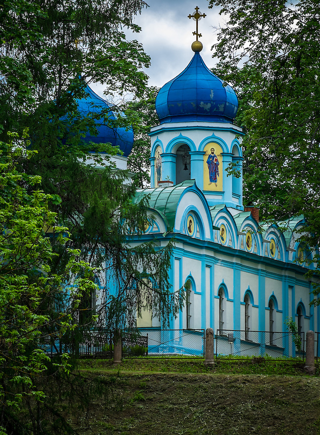 LATVIA, CESIS - CIRCA JUNE 2014: Christ Transfiguration Orthodox Church located in the Cesis Castle Park in Latvia (Daniel Korzeniewski)