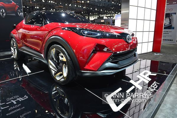 A red Toyota C-HR Concept car is on display at the New York International Auto Show 2016, at the Jacob Javits Center. This was Press Preview Day one of NYIAS, and the Trade Show will be open to the public for ten days, March 25th through April 3rd. (Ann Parry)