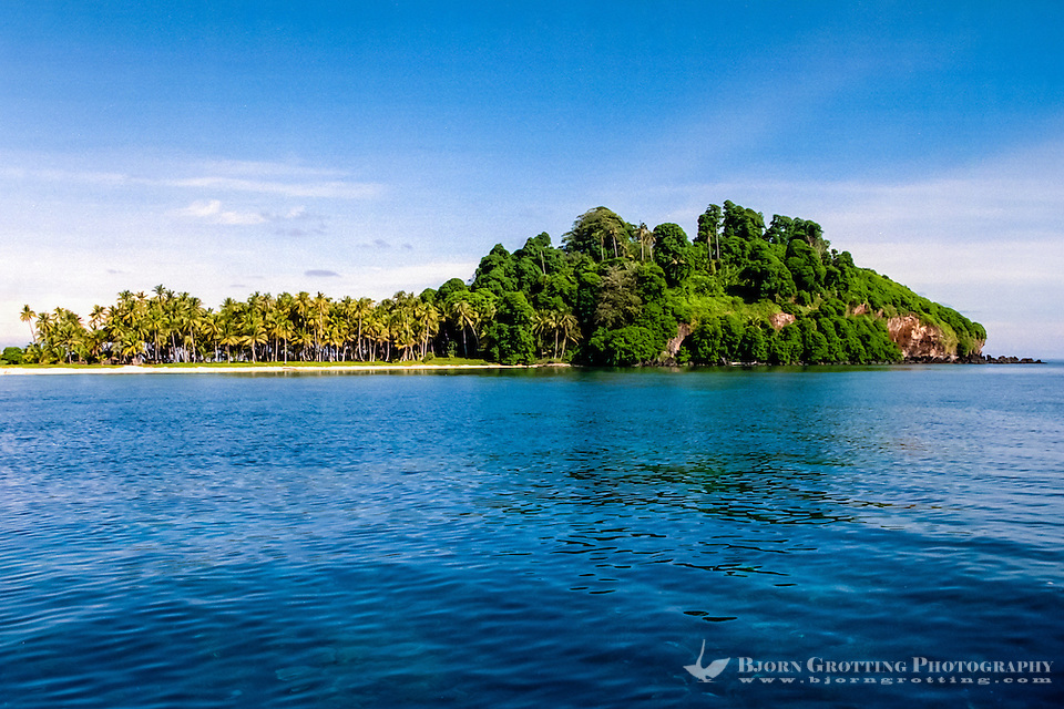 Riau Islands, Natuna Islands. Southwest Natuna. Small island just north of Kalimantan. Beach and palm trees. (Bjorn Grotting)