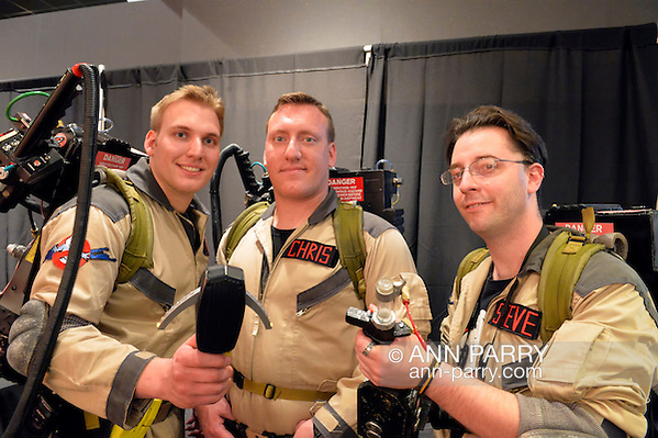 Garden City, New York, U.S. - June 14, 2014 - L-R, DIMITRIOS HARITOS, CHRIS HARITOS, and STEVE CARABELLO, all of the Selden Centereach area, from the Long Island Ghostbusters, a charitable volunteer group, are at Eternal Con, the annual Pop Culture Expo, with costumes, Comic Books, Collectibles, Gaming, Sci-Fi, Cosplay, Horror, and held at the Cradle of Aviation Museum on Long Island. (Ann Parry/Ann Parry, ann-parry.com)