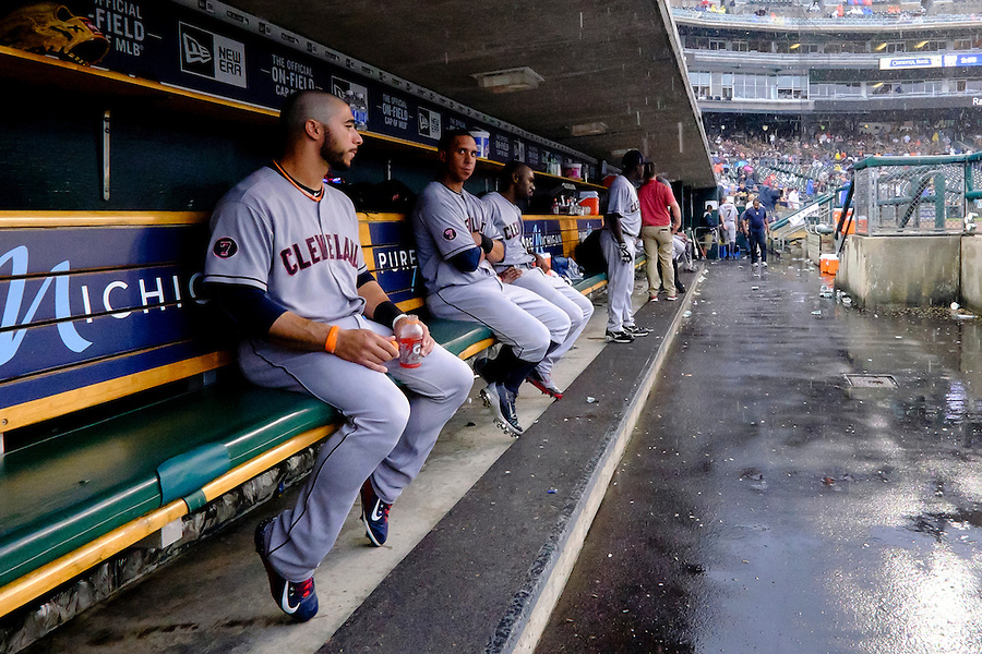 Jun 14, 2015; Detroit, MI, USA; Cleveland Indians shortstop Mike Aviles (4) left fielder Michael Brantley (23) and center fielder Michael Bourn (24) sits in dugout during a rain delay in the fifth inning against the Detroit Tigers at Comerica Park. Mandatory Credit: Rick Osentoski-USA TODAY Sports (Rick Osentoski/Rick Osentoski-USA TODAY Sports)