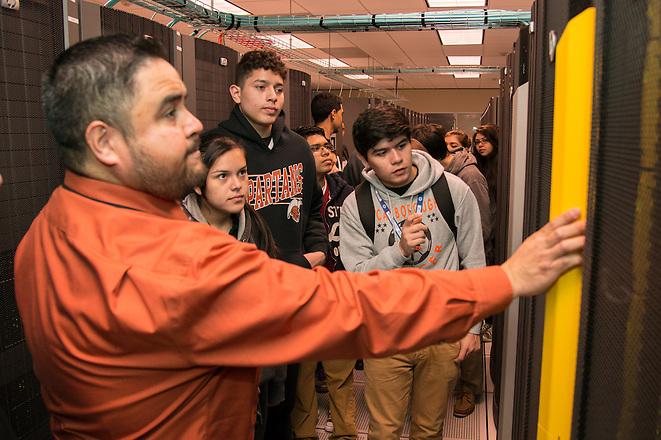 Scarborough High School students tour the Houston ISD data center, March 12, 2014. (Houston ISD/Dave Einsel)