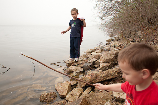 My sons, ages five and two, explore Lake Springfield near Lincoln Memorial Garden. (Kristen Schmid)