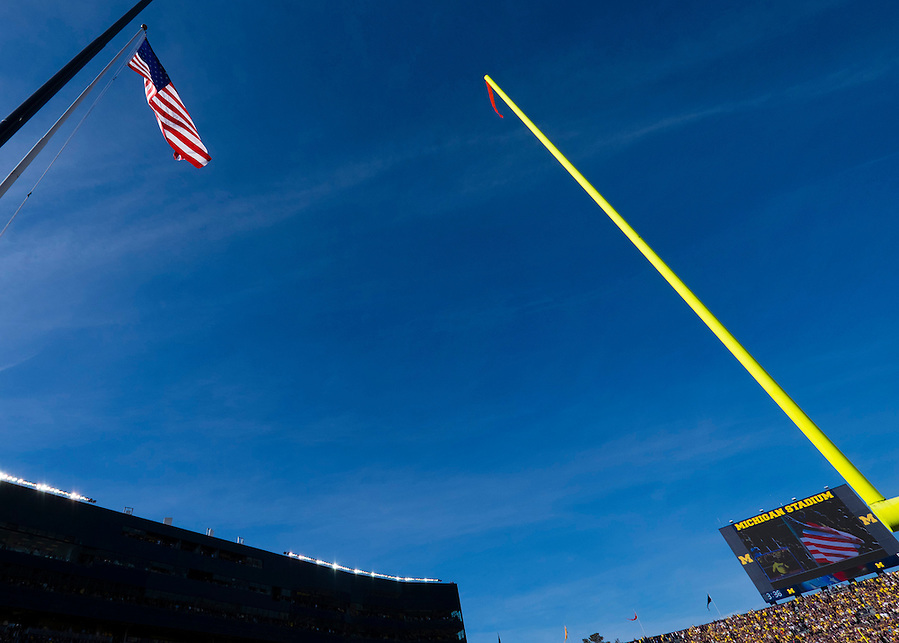 Oct 10, 2015; Ann Arbor, MI, USA; General view of the American flag during the national anthem prior to the game between the Michigan Wolverines and the Northwestern Wildcats at Michigan Stadium. Mandatory Credit: Rick Osentoski-USA TODAY Sports (Rick Osentoski/Rick Osentoski-USA TODAY Sports)