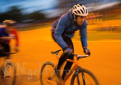 12 MAY 2015 - IPSWICH, GBR - Josh Brooke sprints round the track during an Ipswich Eagles Cycle Speedway Club training session race at Whitton Sports and Community Centre in Ipswich, Suffolk, Great Britain (PHOTO COPYRIGHT © 2015 NIGEL FARROW, ALL RIGHTS RESERVED) (NIGEL FARROW/COPYRIGHT © 2015 NIGEL FARROW : www.nigelfarrow.com)