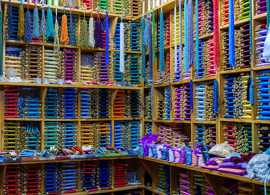 CHEFCHAOUEN, MOROCCO - CIRCA APRIL 2017: Shop selling silk thread spools in Chefcahouen (Daniel Korzeniewski)