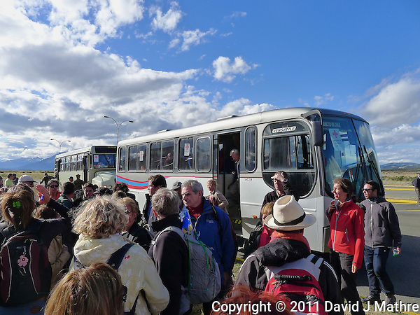 Red Cross Buses at the Puerto Natales Regional Airport. Snapshot taken with a Leica D-Lux 5 camera (ISO 125, 5.1 mm, f/4, 1/800 sec). (David J Mathre)