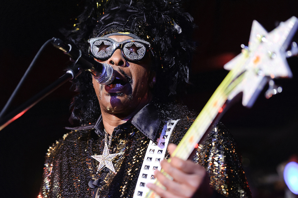 Photos of funk bassist Bootsy Collins performing for the Blue Note Jazz Festival at B.B. Kings Blues Club & Grill, NYC. June 13, 2012. Copyright © 2012 Matthew Eisman. All Rights Reserved. (Photo by Matthew Eisman/WireImage)