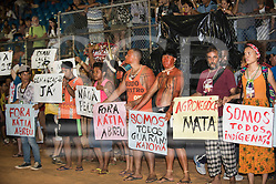 Indigenous people demonstrate against Brazilian government policies during the International Indigenous Games, in the city of Palmas, Tocantins State, Brazil. Photo © Sue Cunningham, pictures@scphotographic.com 27th October 2015 (Sue Cunningham/SCP)