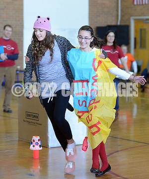 SODYSSEY28P Celi Quay, left, and Anna Wendell of William Allen Middle School demonstrate their solution to No-Cycle Recycle during the Southeast Pennsylvania Odyssey of the Mind tournament Saturday February 27, 2016 at Pennsbury High School West in Fairless Hills, Pennsylvania. (William Thomas Cain/For The Inquirer) (William Thomas Cain/Cain Images)