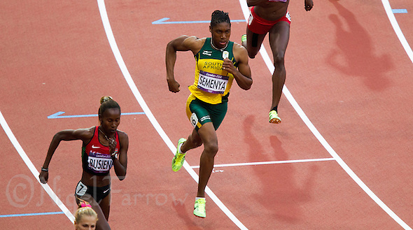 09 AUG 2012 - LONDON, GBR - Caster Semenya (RSA) (centre) of South Africa powers from the start of her women's 800m semi final at the London 2012 Olympic Games athletics in the Olympic Stadium, Stratford, London, Great Britain (PHOTO (C) 2012 NIGEL FARROW) (NIGEL FARROW/(C) 2012 NIGEL FARROW)