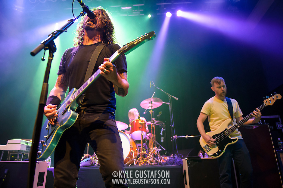 "WASHINGTON, DC - May 5th, 2014 - Dave Grohl, Taylor Hawkins and Nate Mendel of the Foo Fighters perform at the 9:30 Club in Washington D.C. as part of the birthday celebration for Big Tony of Trouble Funk.  The band performed as surprise guests and played a set full of hits such as ""My Hero"" and ""These Days."" (Photo by Kyle Gustafson / For The Washington Post) (Kyle Gustafson/For The Washington Post)"