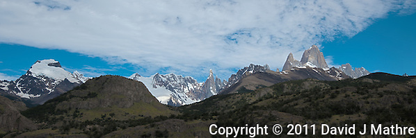 Patagonia Panorama. Image taken with a Nikon D3x and 16-28 mm f/4 VR lens (ISO 100, 31 mm, f/11, 1/200 sec). Five image HDR with Photoshop CS5. (David J. Mathre)