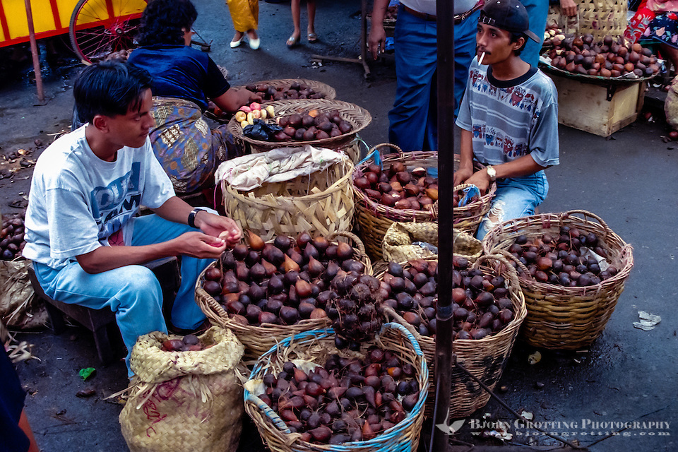 West Sumatra, Padang. Salak, or snake skin fruit, sold on the Padang market, Pasar Raya. (Photo Bjorn Grotting)