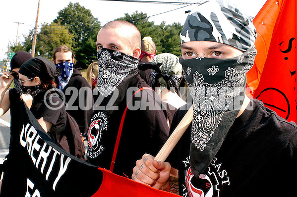 VALLEY FORGE, PA - SEPTEMBER 25: Anti-Nazi protesters arrive outside an American Nazi rally at Valley Forge National Par September 25, 2004 in Valley Forge, Pennsylvania. Hundreds of American Nazis from around the country were expected to attend. (Photo by William Thomas Cain/Getty Images) (William Thomas Cain/Getty Images)